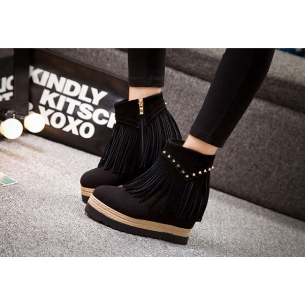 Black Fashion Boots Suede Fringe Platform Shoes for Women image 2