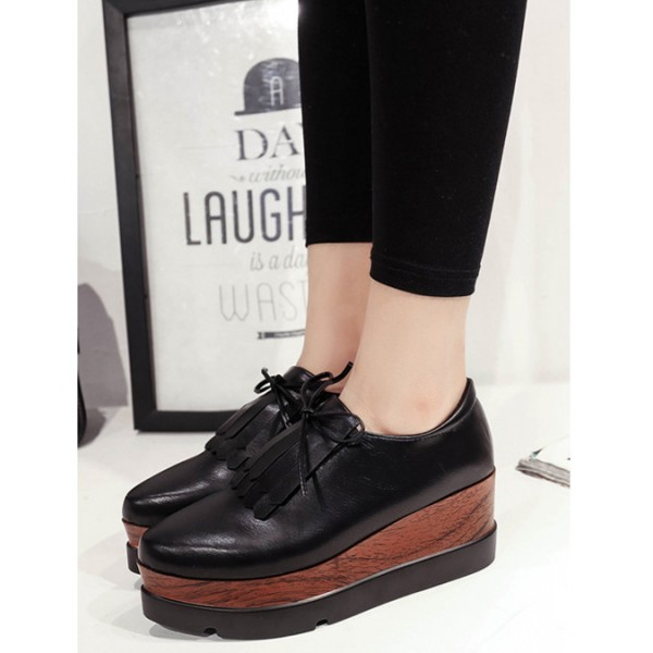 Black Vintage Shoes Fringe Oxfords Platform Shoes image 2