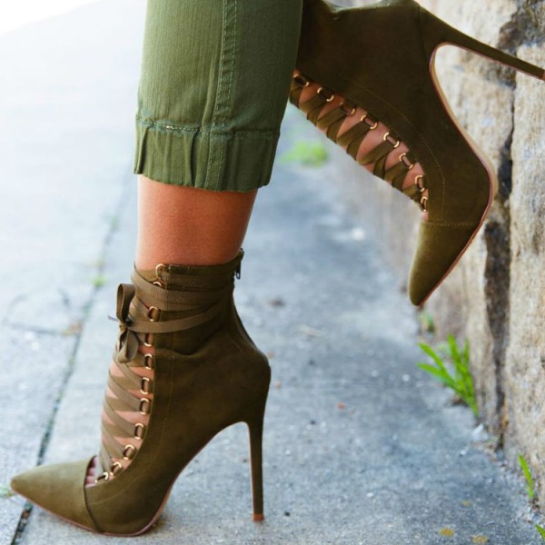 Olive Green Ankle Booties Suede Stiletto Heels Lace up Boots image 3