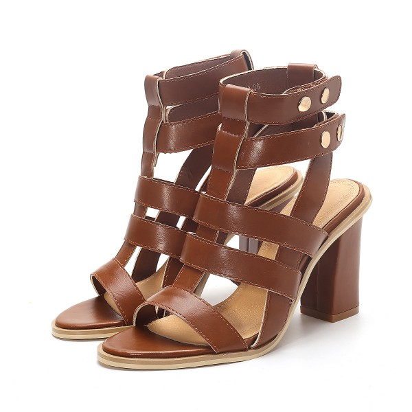 Brown Gladiator Sandals Open Toe Block Heels Sandals for Women image 1