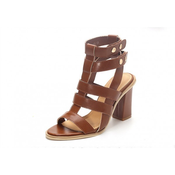 Brown Gladiator Sandals Open Toe Block Heels Sandals for Women image 2