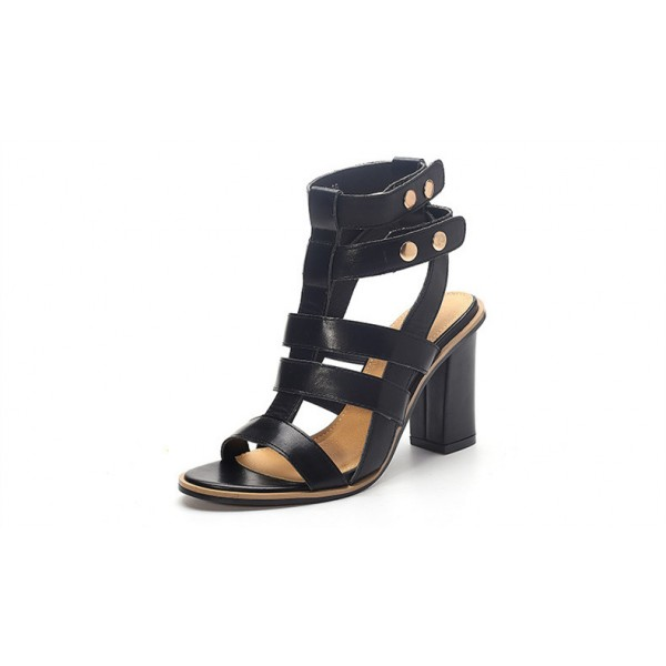 Women's Black Chunky Heel Gladiator Sandals image 1