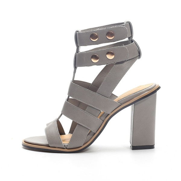Women's Grey Chunky Heel Slingback Gladiator Sandals for Work ...