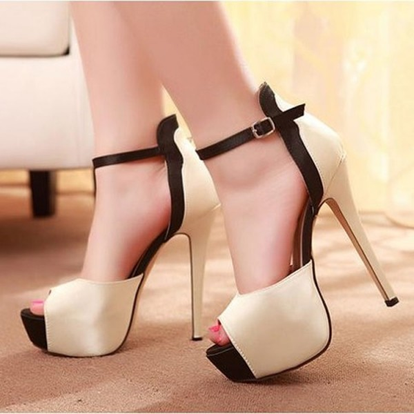 Champagne Satin Platform Sandals Peep Toe Ankle Strap High Heel Shoes image 1