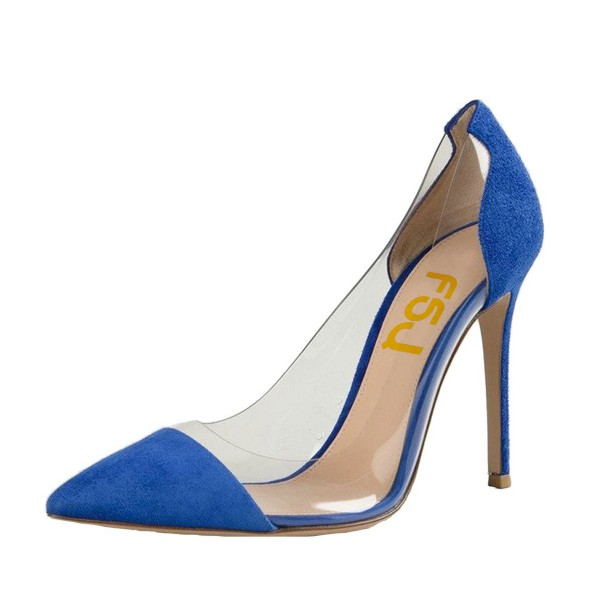 Women's Blue Suede Pointed Toe Stiletto Heel Clear Heels Pumps Shoes image 1