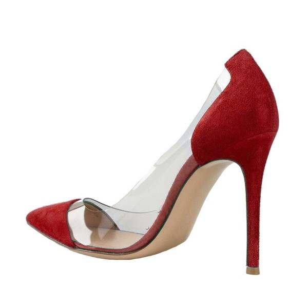 Women's Red Leather Pointed Toe Stiletto Heel Clear Pumps image 3