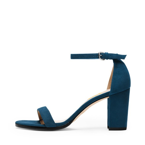 Navy Ankle Strap Sandals Suede Open Toe Block Heels  image 2