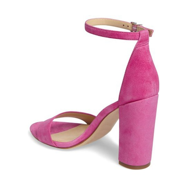 Magenta Ankle Strap Sandals Suede Chunky Heel Sandals image 2