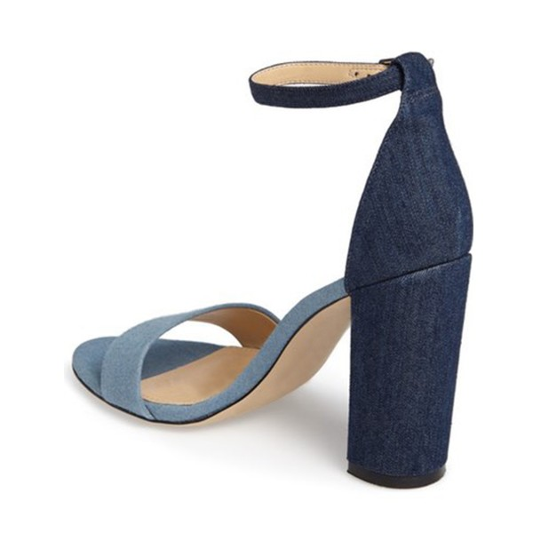 Blue and Navy Jean Heels Ankle Strap Denim Chunky Heel Sandals by FSJ image 2