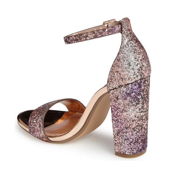 Pink Glitter Gradient Color Dazzling Chunky Heels Sandals image 2