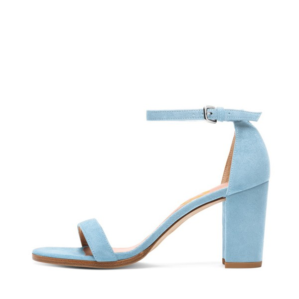 Light Blue Ankle Strap Sandals Suede Block Heels for Ladies image 2