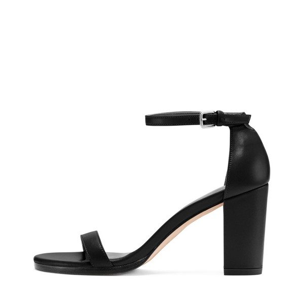 Block Heel Sandals Black Ankle Strap Open Toe Heels image 3