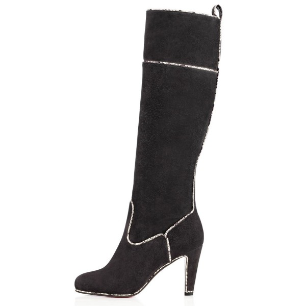 Dark Grey Long Boots Suede Chunky Heel Knee-high Boots image 4