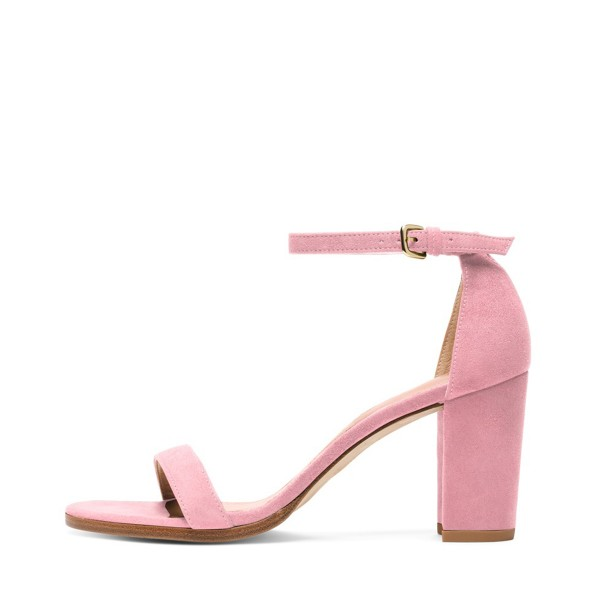 Women's Pink Block Heel Sandals Suede Ankle Strap Heels by FSJ ...