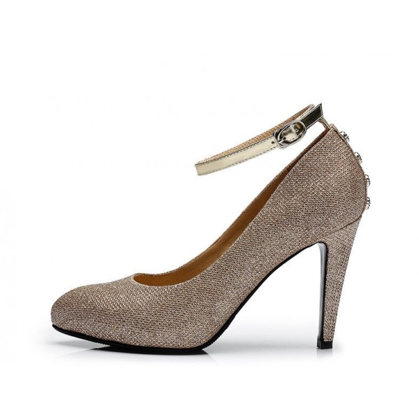 Champagne Glitter Shoes Ankle Strap Stiletto Heels Pumps for Women image 2