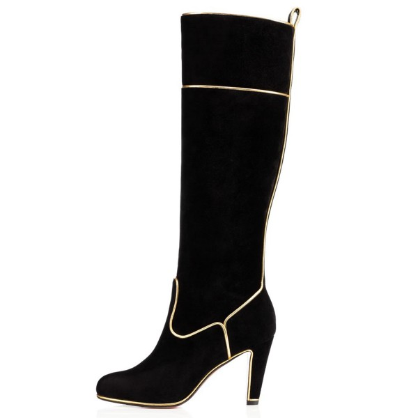 Black Long Boots Suede Chunky Heel Knee-high Boots image 4