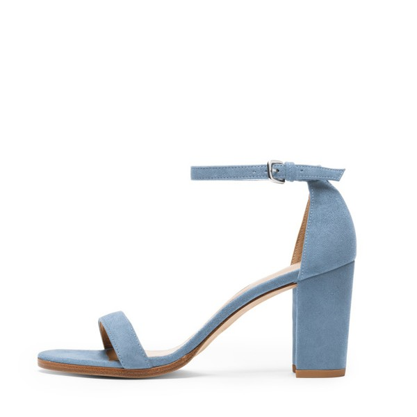 Blue Ankle Strap Sandals Suede Chunky Heel Sandals for Date, Going ...