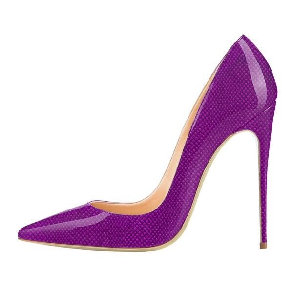 FSJ Purple Stiletto Heels Patent Leather Pointy Toe Pumps for Women image 5
