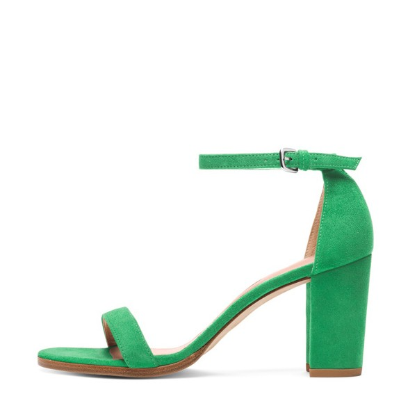 Green Ankle Strap Sandals Open Toe Suede Block Heels image 2
