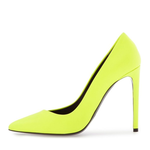 On Sale Neon Yellow Vegan Shoes Pointy Toe Stiletto Heel Pumps image 2