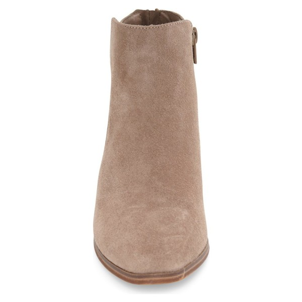 Taupe Wooden Chunky Heel Boots Suede Round Toe Short Boots image 2