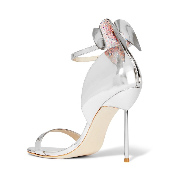 Silver Bridal Sandals Mirror Leather Ankle Strap Wedding Heels image 3