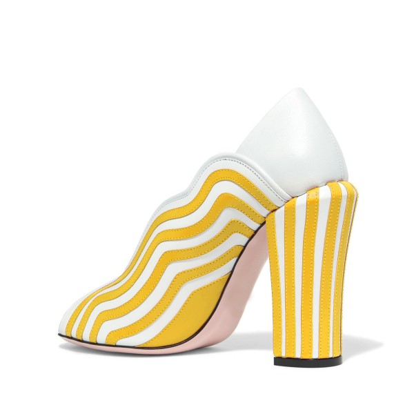 Yellow Stripes Peep Toe Heels Pumps Women's Block Heels  image 2
