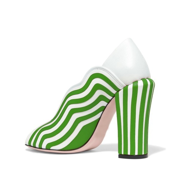 Women's Green and White Stripes Peep Toe Chunky Heels Shoes image 3