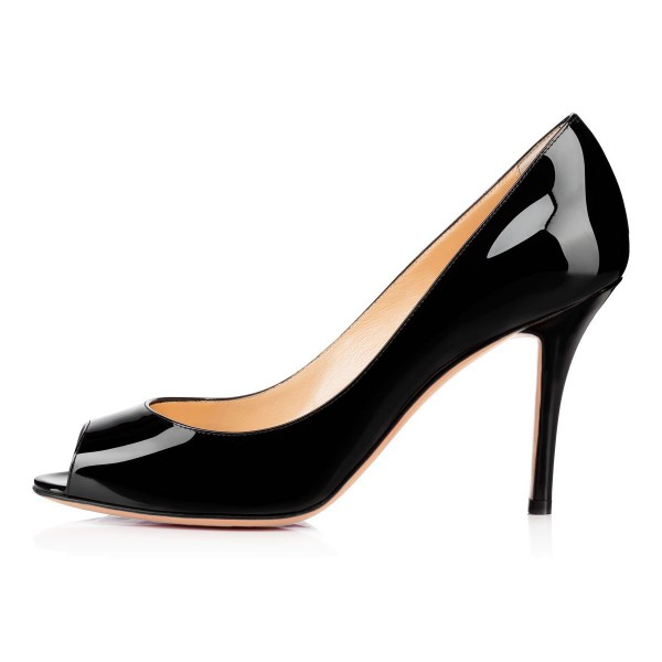 On Sale Black Peep Toe Heels Stiletto Heel Pumps Dress Shoes image 4