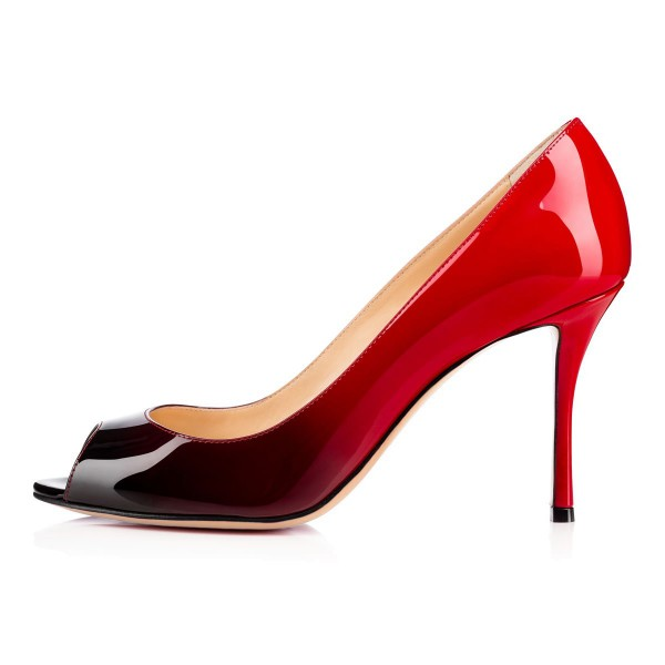 Women's Red and Black Gradient Stiletto Heels Peep Toe Patent Leather Pumps image 2