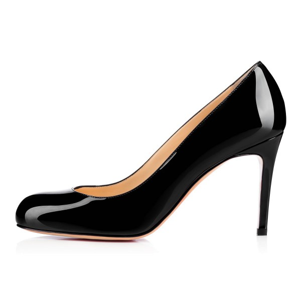 Black Dress Shoes Round Toe Patent Leather Stilettos Heels For Office Lady image 4