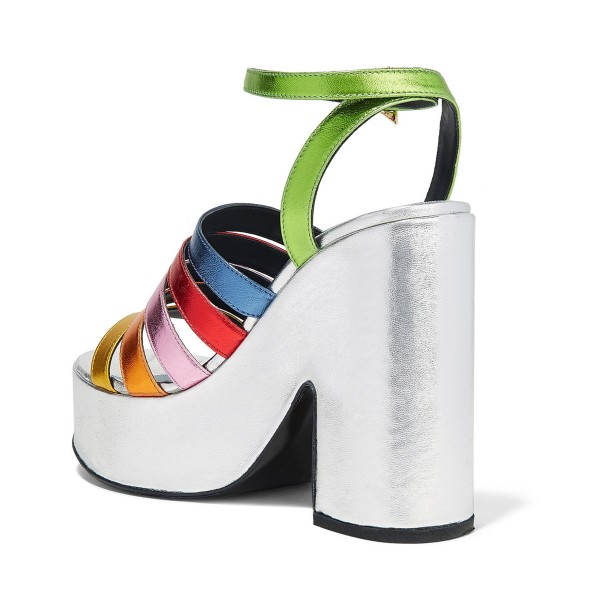 Women's White Colorful Chunky Heels Ankle Strap Sandals image 3