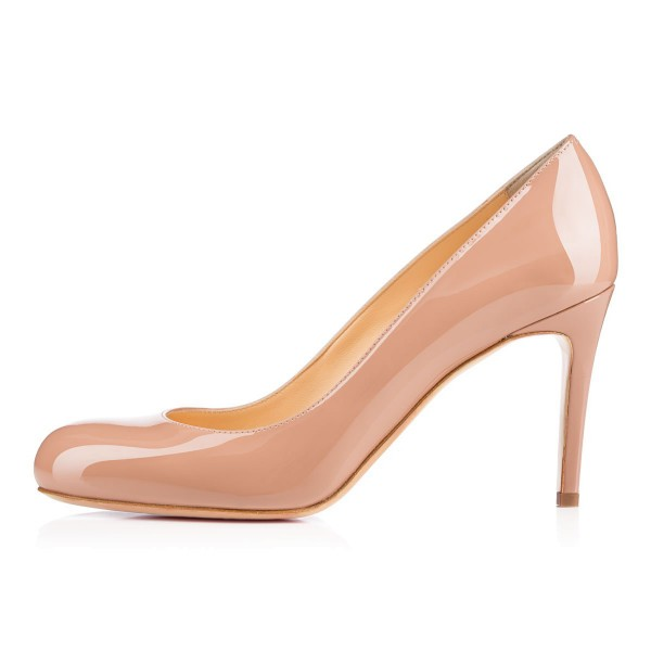 Office Heels Round Toe Patent Leather Stiletto Heel Nude Pumps image 4