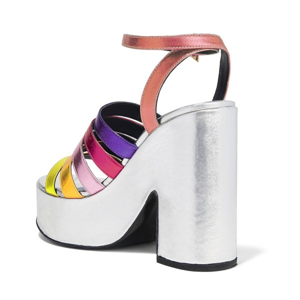 Rainbow Sandals Ankle Strap Colorful Chunky Heels with Platform image 2