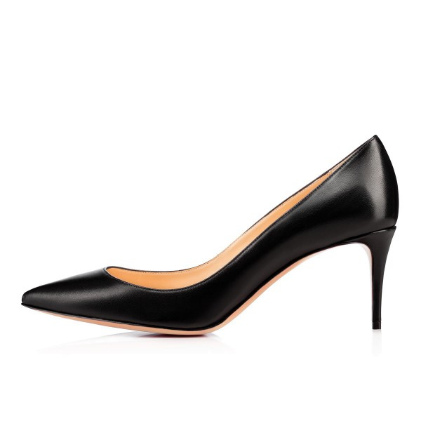 Women's  Black Low-cut Stiletto Heels Uppers Pointy Toe Commuting Pumps  image 2