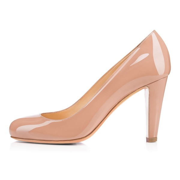 On Sale Blush Heels Round Toe Patent Leather Office Pumps image 5