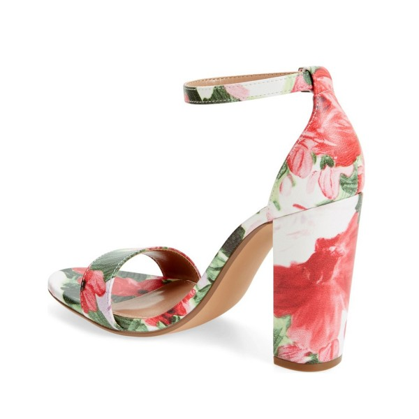 Women's Flower Open Toe Chunky Heel Floral Heels Ankle Strap Sandals image 2