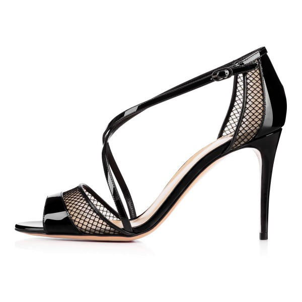 Women's Black Mesh Cross-Over Strappy Stiletto Heels Sandals image 2