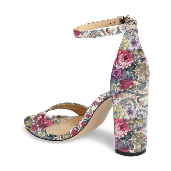 Floral Heels Ankle Strap Open Toe Women's Block Heel Sandals image 2