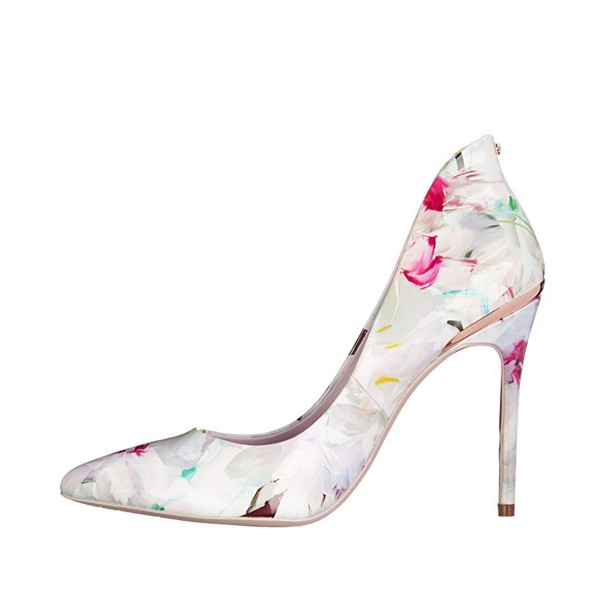 FSJ White Floral Heels Vegan Pointy Toe Stiletto Heel Pumps image 2