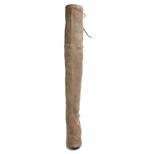 Khaki Chunky Heel Boots Round Toe Suede over-the-knee Boots image 2