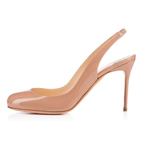 Women's Blush Stiletto Heels Round Toe Slingback Pumps For Work image 2