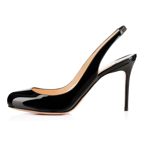 Leila Black Dress Shoes Round Toe Stiletto Heels Slingback Pumps image 3