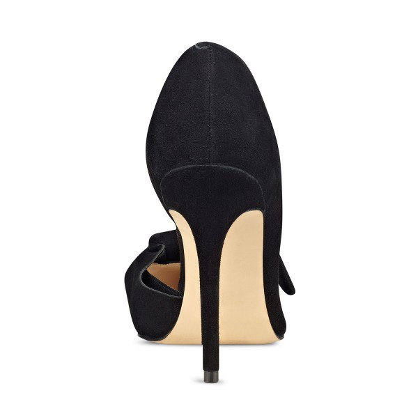Women's Black Elegant Bow Stiletto Heels Pumps Shoes image 3