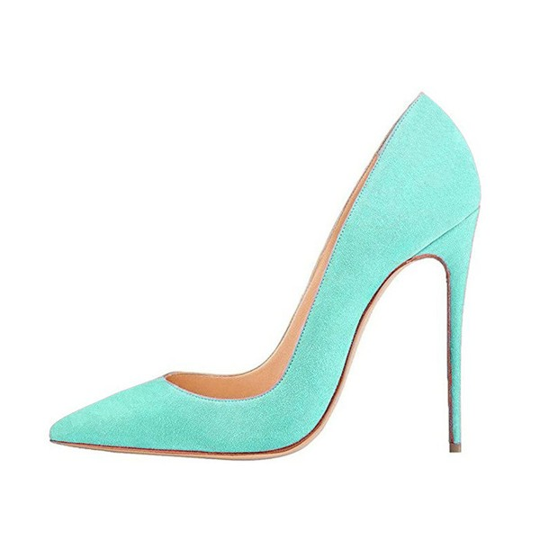 Turquoise Heels Pointy Toe Stiletto Heel Suede Pumps image 3