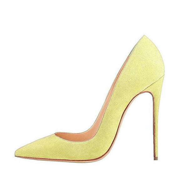 On Sale Yellow Pointy Toe Suede Stiletto Heels Pumps image 4