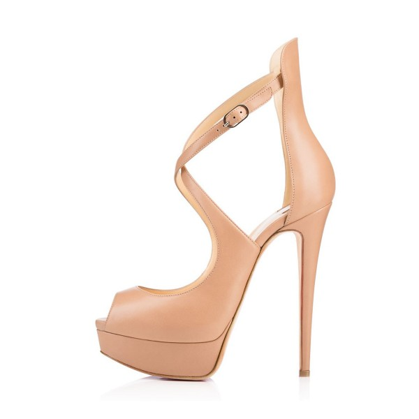 Women's Nude Cross-Over Straps Peep Toe Stiletto Heel Sandals Platform Heels image 4