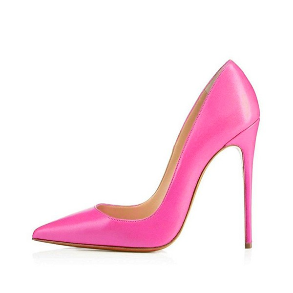 On Sale Fuchsia Office Heels Pointy Toe Stiletto Heel Dressy Pumps image 2