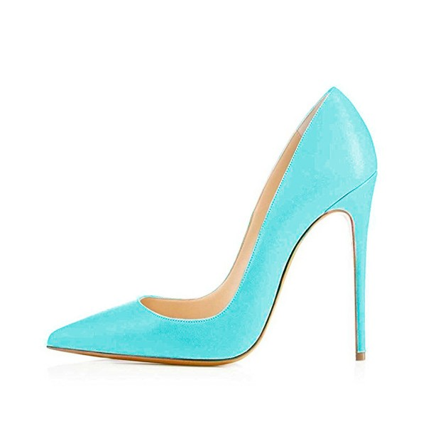 Women's Cyan Leather Stiletto Heels Office Pumps Dress Shoes image 3