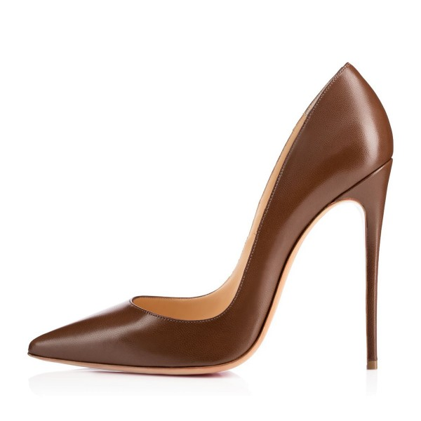 FSJ Brown Office Heels Pointy Toe Stiletto Heel Pumps for Work image 2